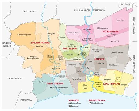 bangkok grootstedelijke regio kaart Stock Illustratie