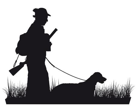 Chasseur avec silhouette de chien Banque d'images - 54115753