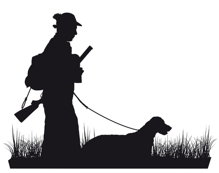 hunter with dog silhouette