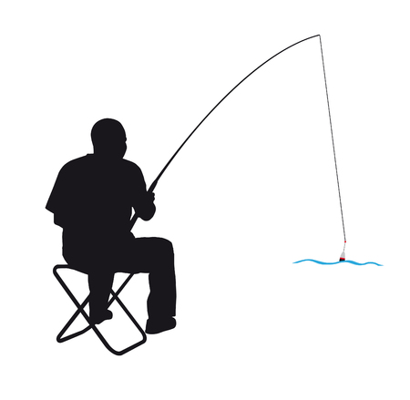 fishing silhouette: man silhouette on a chair while fishing Illustration