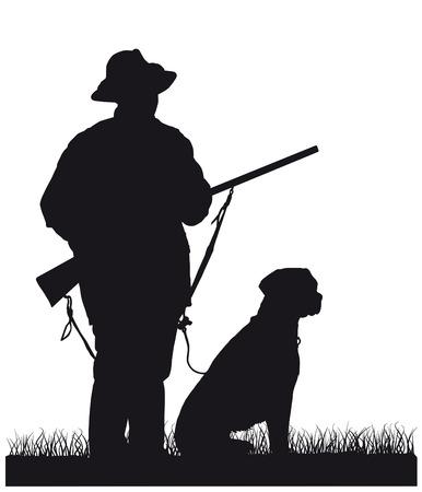 hunter with dog, silhouette 일러스트