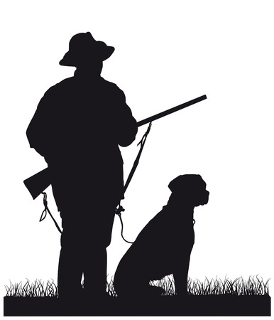 hunter with dog, silhouette Vectores