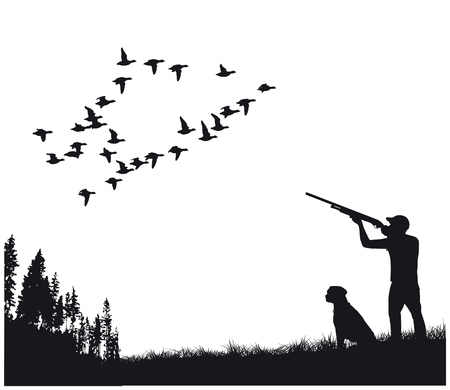 hunter with dog on duck hunting, silhouette
