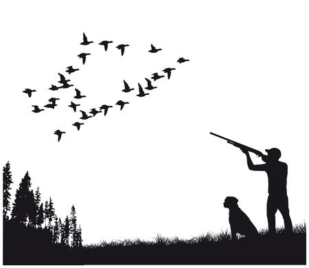 Myśliwy z psem na polowanie na kaczki, sylwetka