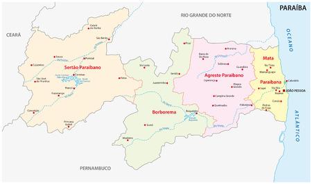 municipalities: paraiba administrative map Illustration