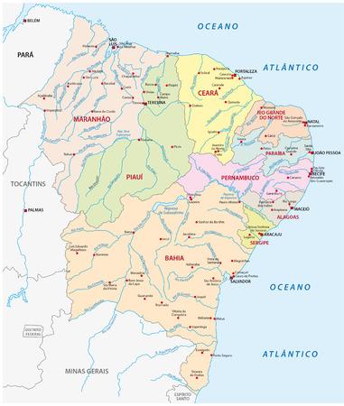 io: map of the northeast region, brazil