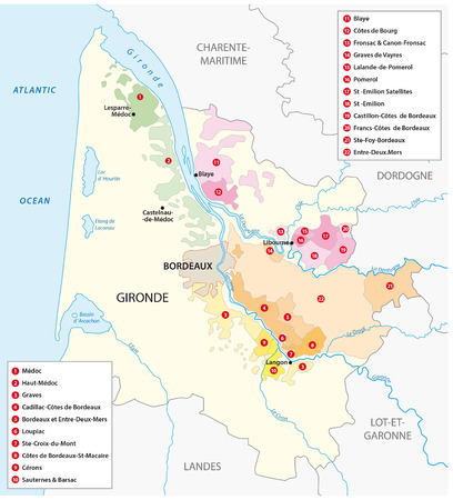 bordeaux: map of the French wine region of Bordeaux