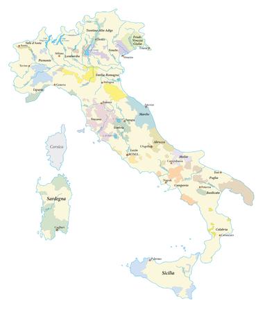 italië wijngebieden kaart
