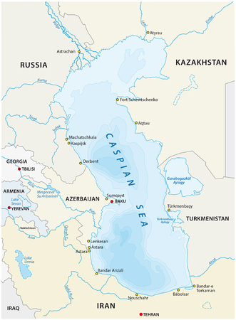 caspian: map of the Caspian sea with the Neighboring states