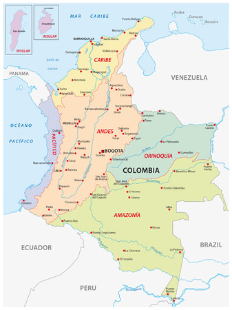 regions: map of the natural regions, Colombia