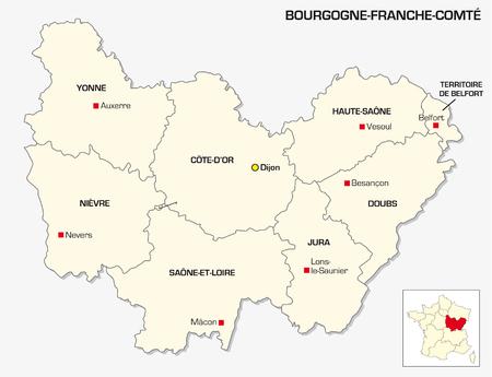 prefecture: New French administrative region Bourgogne Franche Comte