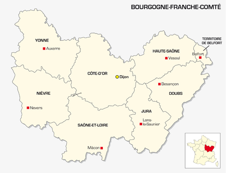 New French administrative region Bourgogne Franche Comte