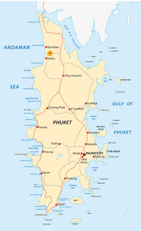 phuket road and beach map Stock Illustratie