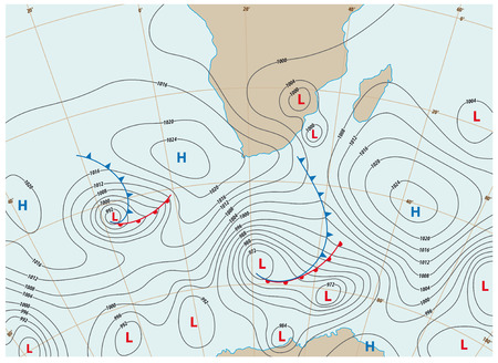 imaginary weather map showing isobars and weather fronts Illustration