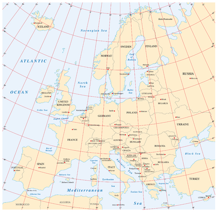 coordinates: europe administrative and political map with coordinates