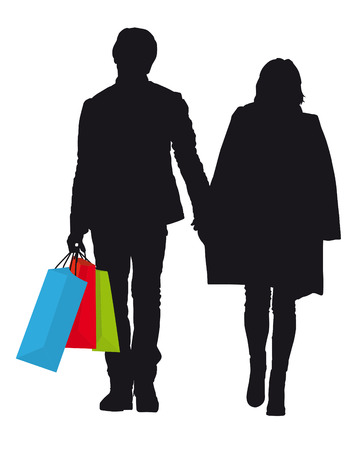 retail therapy: silhouette of man and woman with colorful bags When shopping Illustration