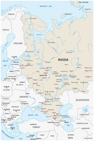 the volga river: european russia map