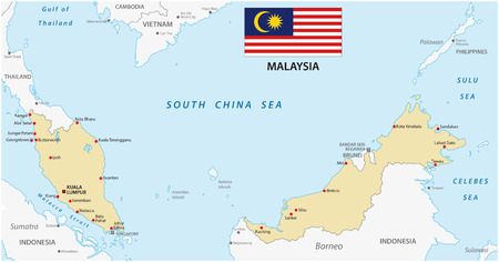 gulf: malaysia map with flag Illustration