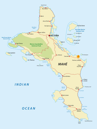 la: seychelles, mahe map Illustration