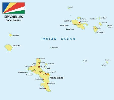 seychelles-Karte mit Fahne