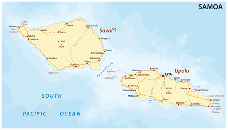 mercator: road map of Samoa