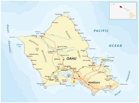 oahu: Oahu road map Illustration