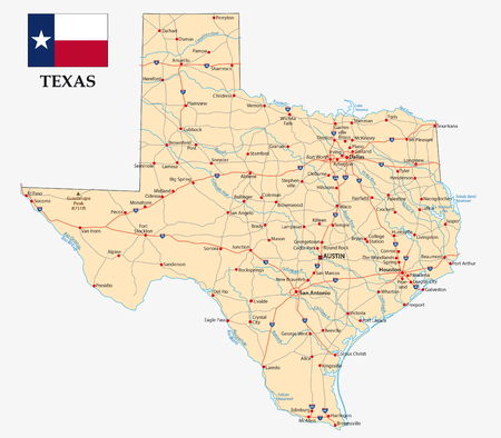 Road map of the US American Federal State texas with flagv