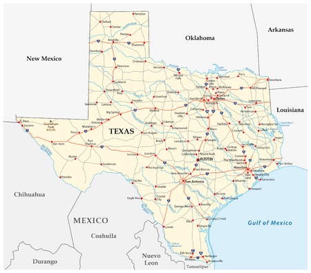 Road map of the US American Federal State Texas