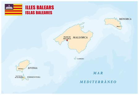 ibiza: balearic islands map with flag Illustration