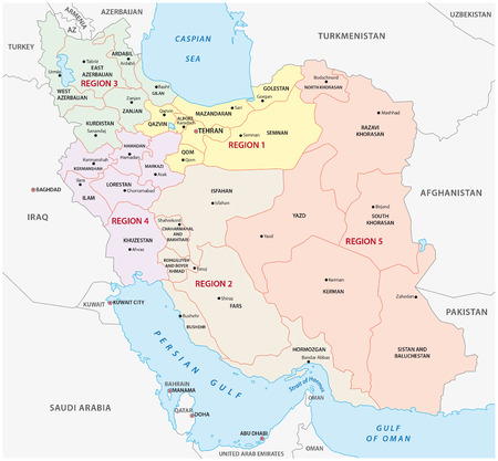regions: iran administrative and political map, regions