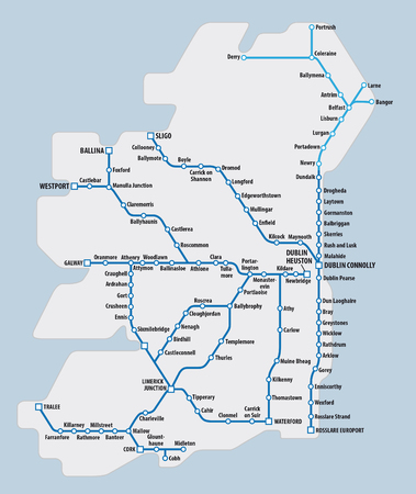 schematic: map of ireland with schematic railway route network