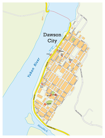 yukon: city ??map of dawson city yukon territory, canada