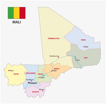 mali: mali administrative map with flag
