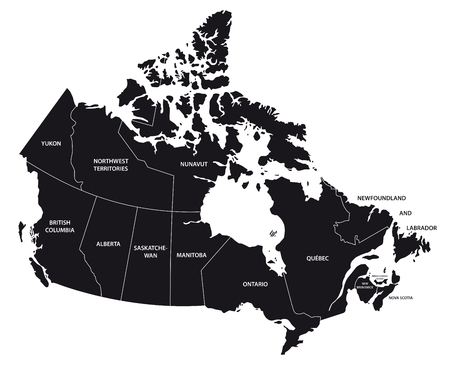 canada administrative map in black and white 矢量图像