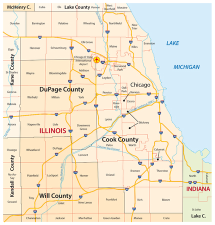 greater chicago map Imagens - 55617277