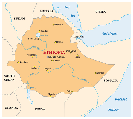 nile: simple vector map of the state of ethiopia