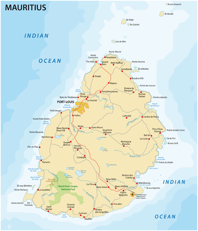 mauritius: road map of the State Iceland Mauritius in the Indian ocean