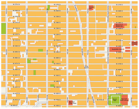 times square: theater district map, midtown manhattan, new york city
