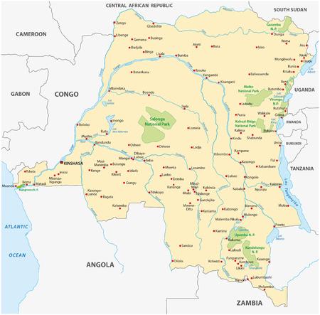 detailed: democratic republic of the congo map Illustration