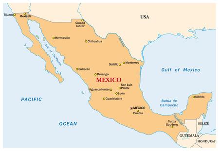 Prosty wektor mapa Meksyku państwowej
