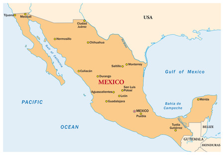 mexico map: simple vector map of the state mexico