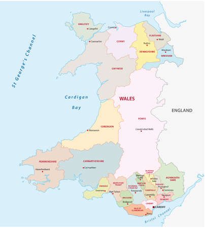 wales: wales administrative map