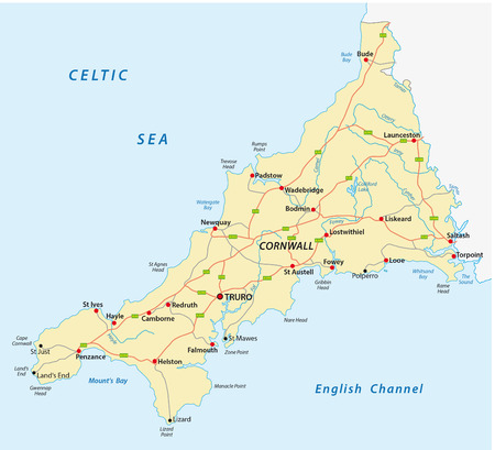 peninsula: vector road map of cornwall united kingdom