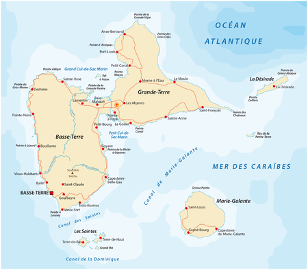 guadeloupe: Road map of Guadeloupe