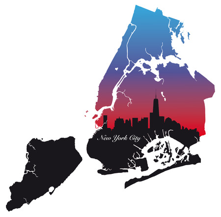 urbane: new york city map black, red and blue silhouette