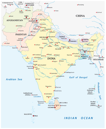 south asia: detailed vector map of south asia with the biggest cities Illustration