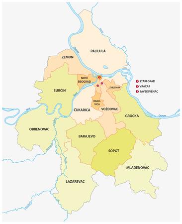suburbs: Belgrade neighborhoods and suburbs map