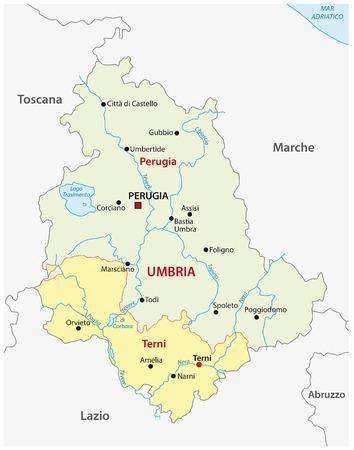 umbria administrative map, Italy Ilustrace