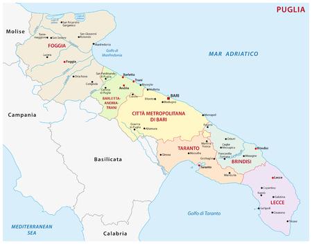 mapa administrativo Apulia, Italia
