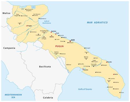 apulia kaart, Italië Vector Illustratie